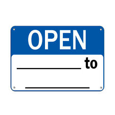 Horizontal Metal Sign Multiple Sizes Open To Business Hours Blue