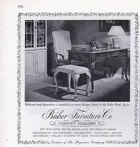 1972 Baker Vintage 70 S Furniture Chair Table Desk Print
