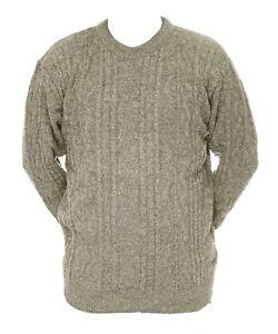 Mens-L-XL-New-Crew-Neck-Beige-Grey-Mix-Jumper-Acrylic-Wool-Pullover-Sweater