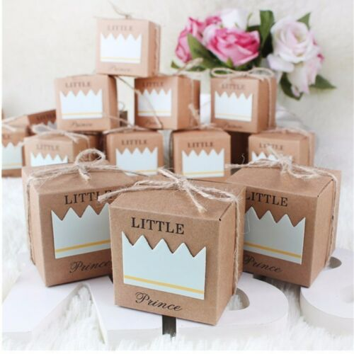 10pcs Prince Princess Paper Candy Boxes Wedding Party Favors Gifts Box with Rope