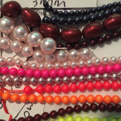 3mm 4mm,6mm 470+ Swarovski Crystal Pearls 8mm Round and Pear Many Colours PP5