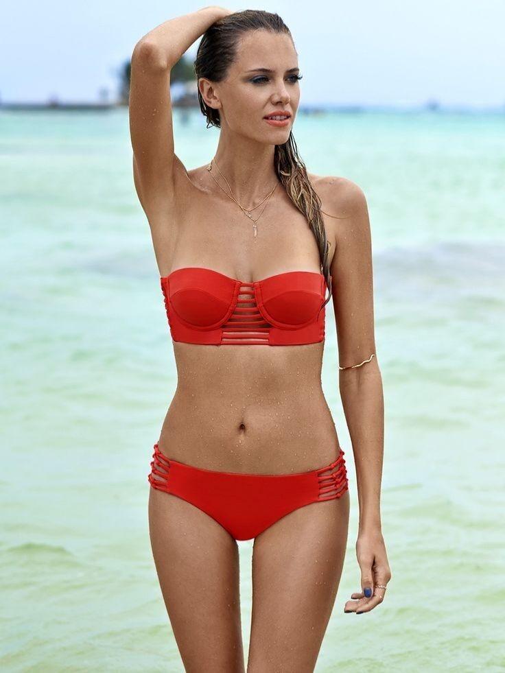 Malai Women's Crystalline Swimwear Bikini Set Red Size M NWT