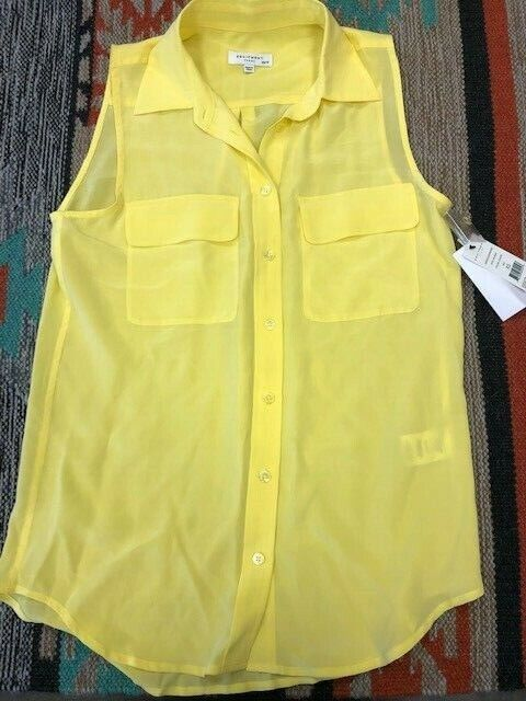 Equipment  Sleeveless Slim  Wmn's Signature Silk Blouse Button Front Canary NWT