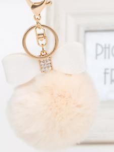 Bow charm keyring fluffy pompom for handbag keys jewellery.ladies present gift