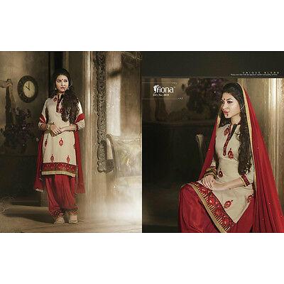 Indian Designer  Patiala  chanderi dress material- 4018