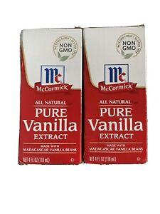 2 McCormick Pure Vanilla Extract 4 fl oz (118 ml) All Natural NON  GMO EXP.2024