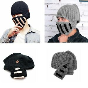 Men Women Winter Crochet Knit Spartan Warrior Roman Face Mask Cap ... 35e6ac2fb50