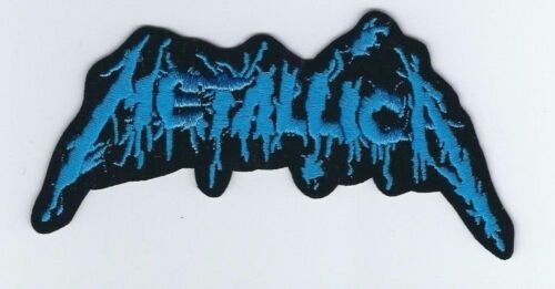 METALLICA LOGO CRACKED BLUE EMBROIDERED PATCH !