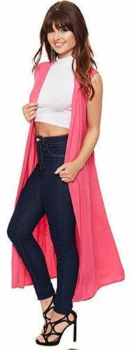 US Stylish Ladies Sleeveless Front Open Long Length Boyfriend Maxi Cardigan 8-26