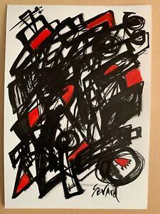 SEVARD Abstrakte Komposition Gemälde Zeichnung A4 Original Signiert Unikat N448