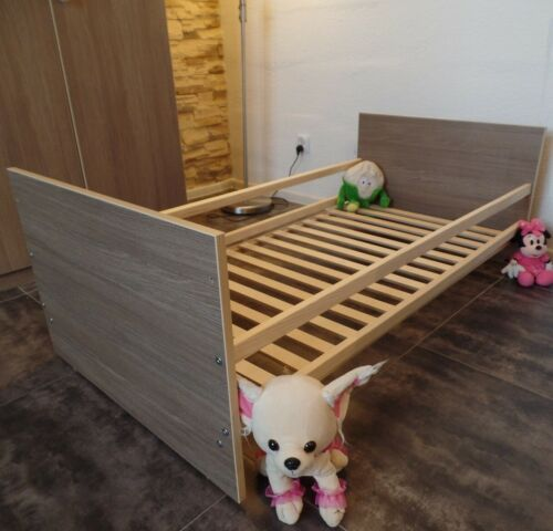 Babybett Set Komplett Gitterbett Juniorbett  60x120 UMBAUBAR Braun-CAFE Matratze