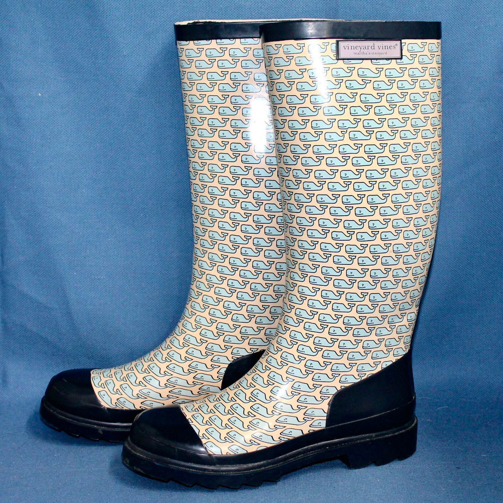 VINEYARD VINES Rain Boots Knee-High Wellies Wo's 7 Yellow bluee Whales Rubber