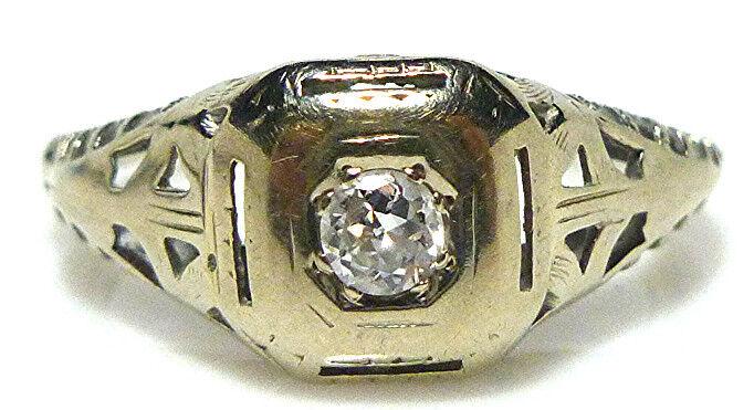 VICTORIAN 14K WHITE gold FILIGREE WEDDING ENGAGEMENT ANTIQUE RING SIZE 5.25