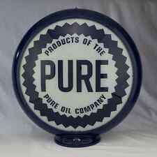 "Pure Oil Gas Pump Globe Sign 13.5"" Glass Lenses Gas Station Man Cave Shop Decor"