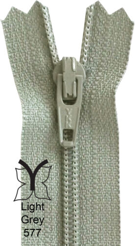 Grey 10-56cm Silver Charcoal 4-22 Inch YKK Closed End Nylon Zips Black