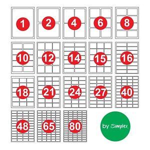 24 etichette per foglio autoadesivo appiccicoso A4 Indirizzo Etichette a Getto D/'inchiostro Stampante laser