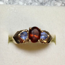 10K Yellow Gold Hessonite Garnet Ring with Tanzanite accent1.09 cttw Size 7