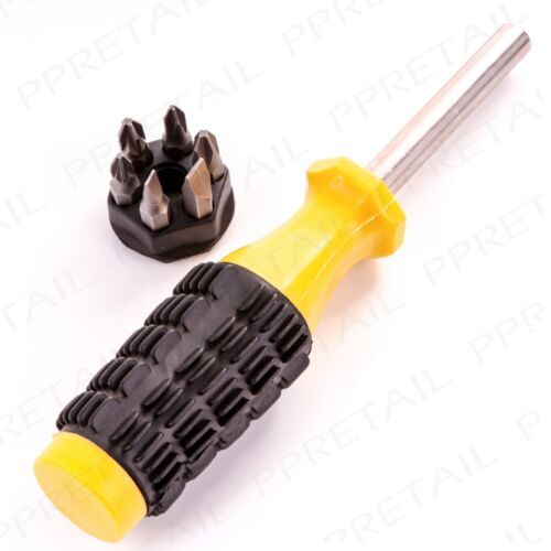 6-in-1 SCREWDRIVER WITH SOFT CUSHION GRIP HANDLE Slotted Phillips Torx Bits Tool