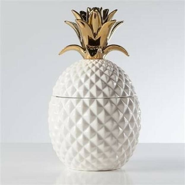 Torre & Tagus  Pineapple or Crown blanc Ceramic Canister, Tall