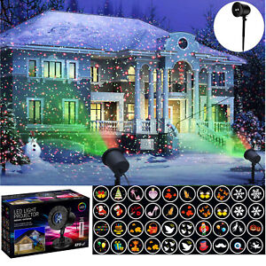 Outdoor-LED-Lights-Shape-Star-Projector-Projected-Christmas-Xmas-12-Themes-laser