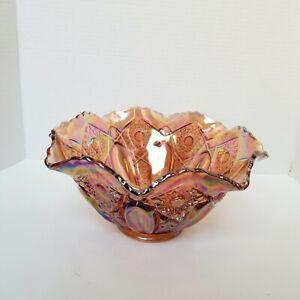Vintage-Carnival-Glass-Marigold-Ruffled-Edge-Bowl-10-5-034
