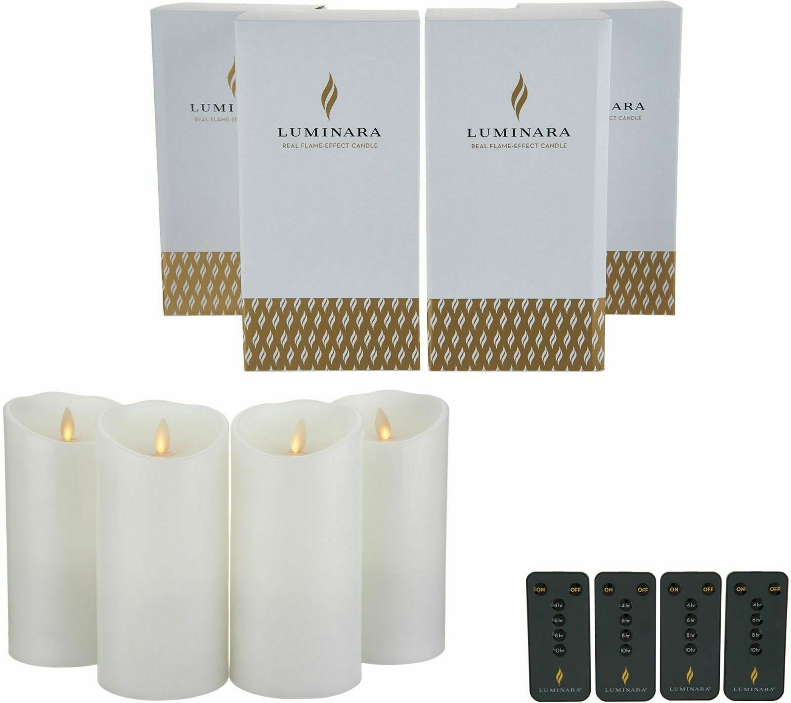 Luminara 7 inch Flameless Candles with Remotes & Boxes - Set of Four White