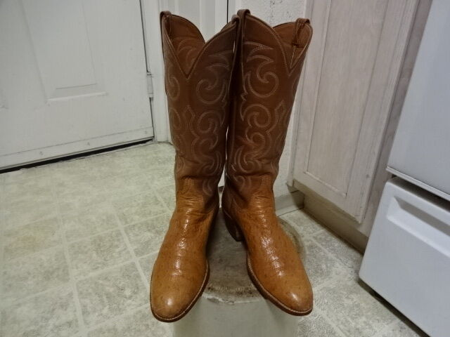 VINTAGE SAN ANTONIO LUCCHESE OSTRICH WESTERN Stiefel WON MADE IN USA WON Stiefel 7 AA GOOD ab115c
