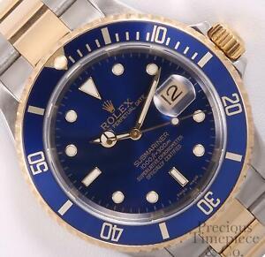 Rolex-Submariner-16613-Watch-Two-Tone-18k-Gold-SS-Blue-Dial-Blue-Aluminum-Bezel