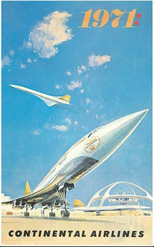 Vintage 1971 Continental Airlines Concorde Airline Poster Print A3//A4
