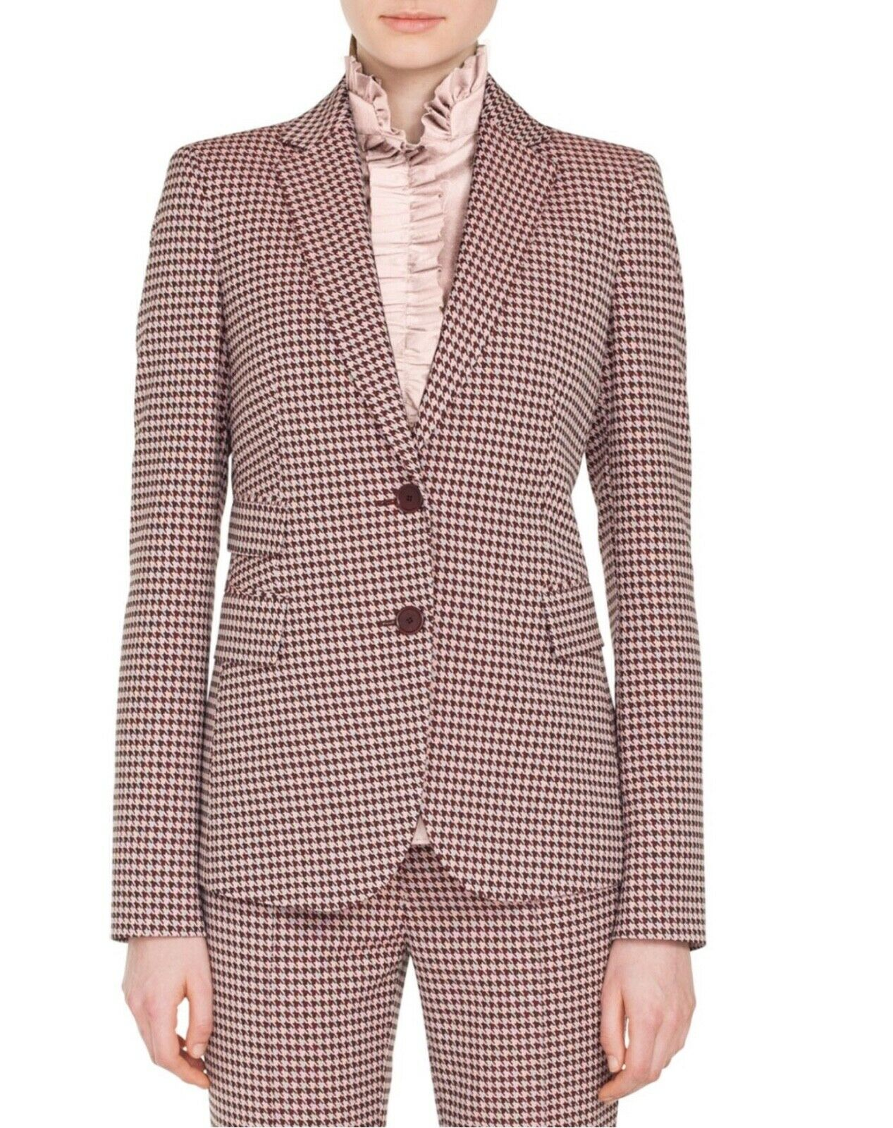 Akris puntoTwo-Button Houndstooth Jersey BlazerSize10 multicolord