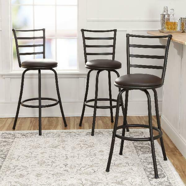 Swivel Bar Stools Set of 3 Adjustable Counter Height Kitchen Dining Room Chairs