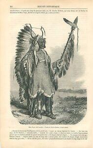 Indiens-Mato-Tope-Chef-des-Mandans-Missouri-Dakota-USA-GRAVURE-OLD-PRINT-1863