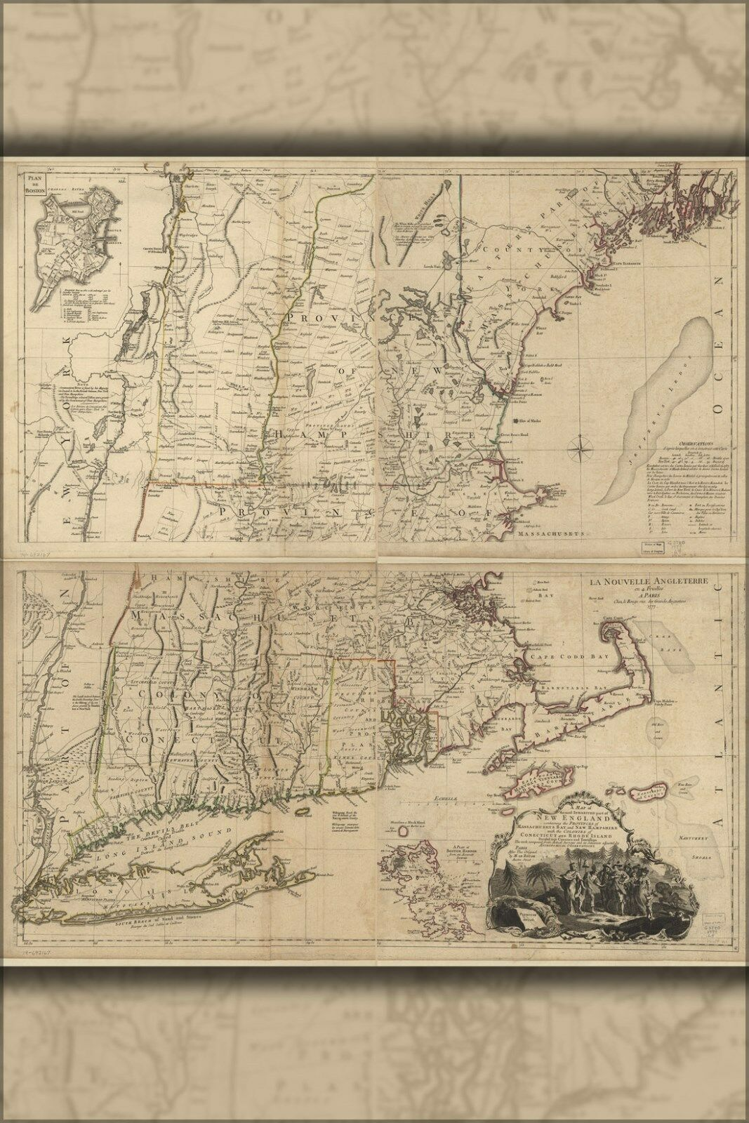 Poster, Many Größes; Map Of New England 1777 P2