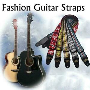 Flowers-Guitar-Strap-Adjustable-Nylon-Webbing-Belt-For-Electric-Acoustic-Ba-X6E3