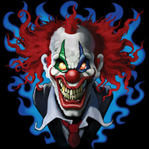 Crazy Scary Evil Clown Smiling Blue Red Design T Shirt Tee Ebay