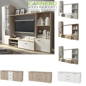 Dettagli su Mobili soggiorno DIOR rovere bianco porta tv parete attrezzata  moderna design
