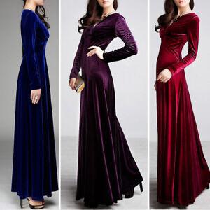 Women-V-Neck-Prom-Dress-Long-Sleeve-Velvet-Formal-Party-Evening-Maxi-Dresses-F70