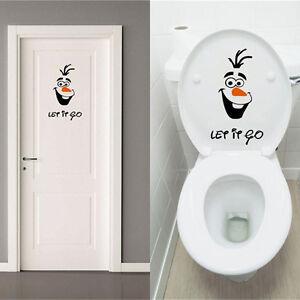 Olaf Frozen Disney Stil Let it Go Toilette Wandtattoo Badezimmer ...