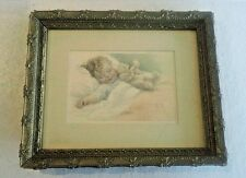 "Bessie Pease Gutmann 'Happy Dreams' Signed Print in Vintage Frame, 8"" x 10"""