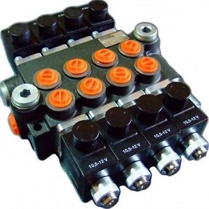 Hydraulic bank motor 4 spool valves 50l min electric 12v for Hydraulic motor control valve