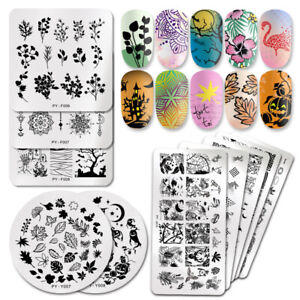 PICT-YOU-Nail-Stamping-Plates-Halloween-Fowers-Tropical-Geometry-Image-Templates