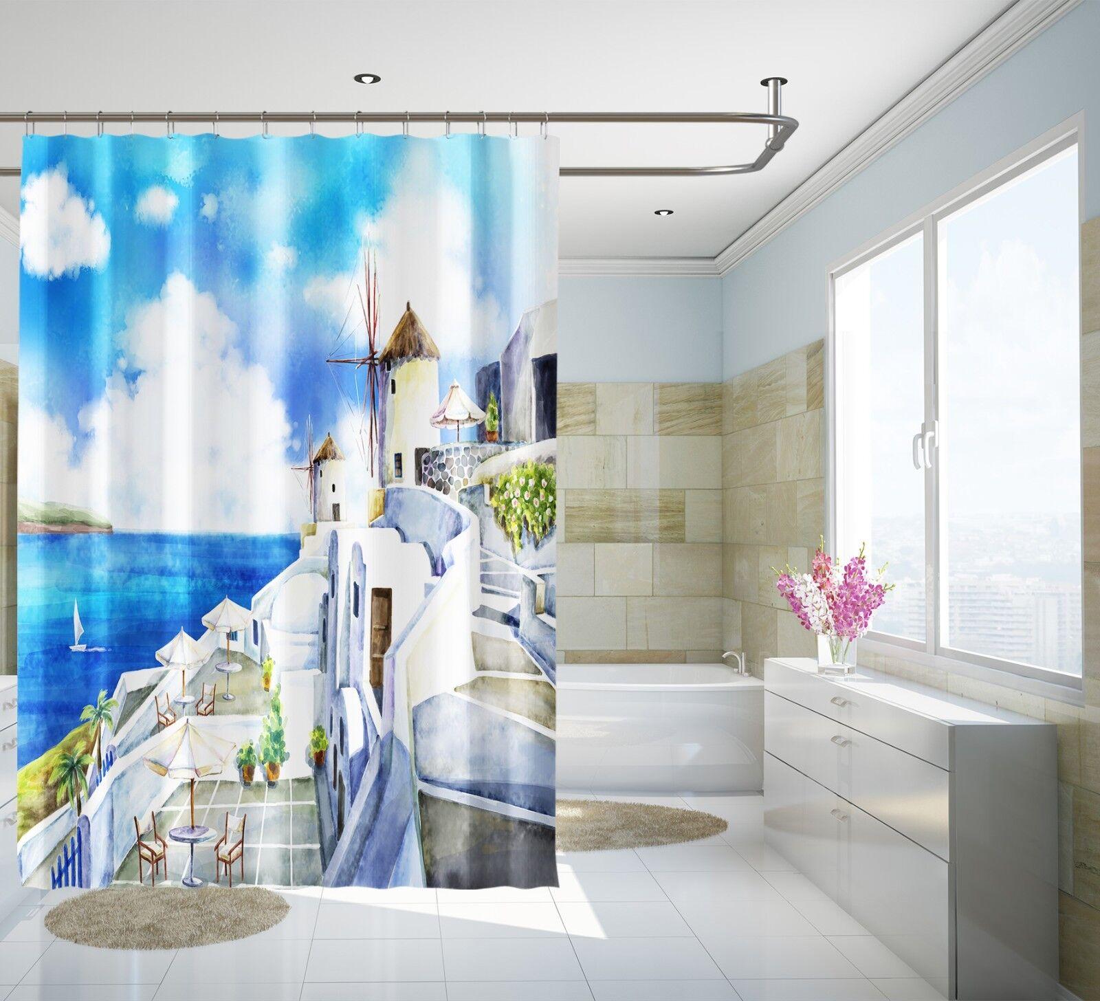 3D Liebe Meer 323 Duschvorhang Wasserdicht Faser Bad Daheim Windows Toilette DE | Neueste Technologie