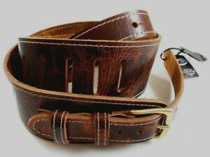 UK-MADE-BROWN-LEATHER-PRO-DELUXE-ROAD-WORN-DISTRESSED-GUITAR-STRAP-WITH-BUCKLE