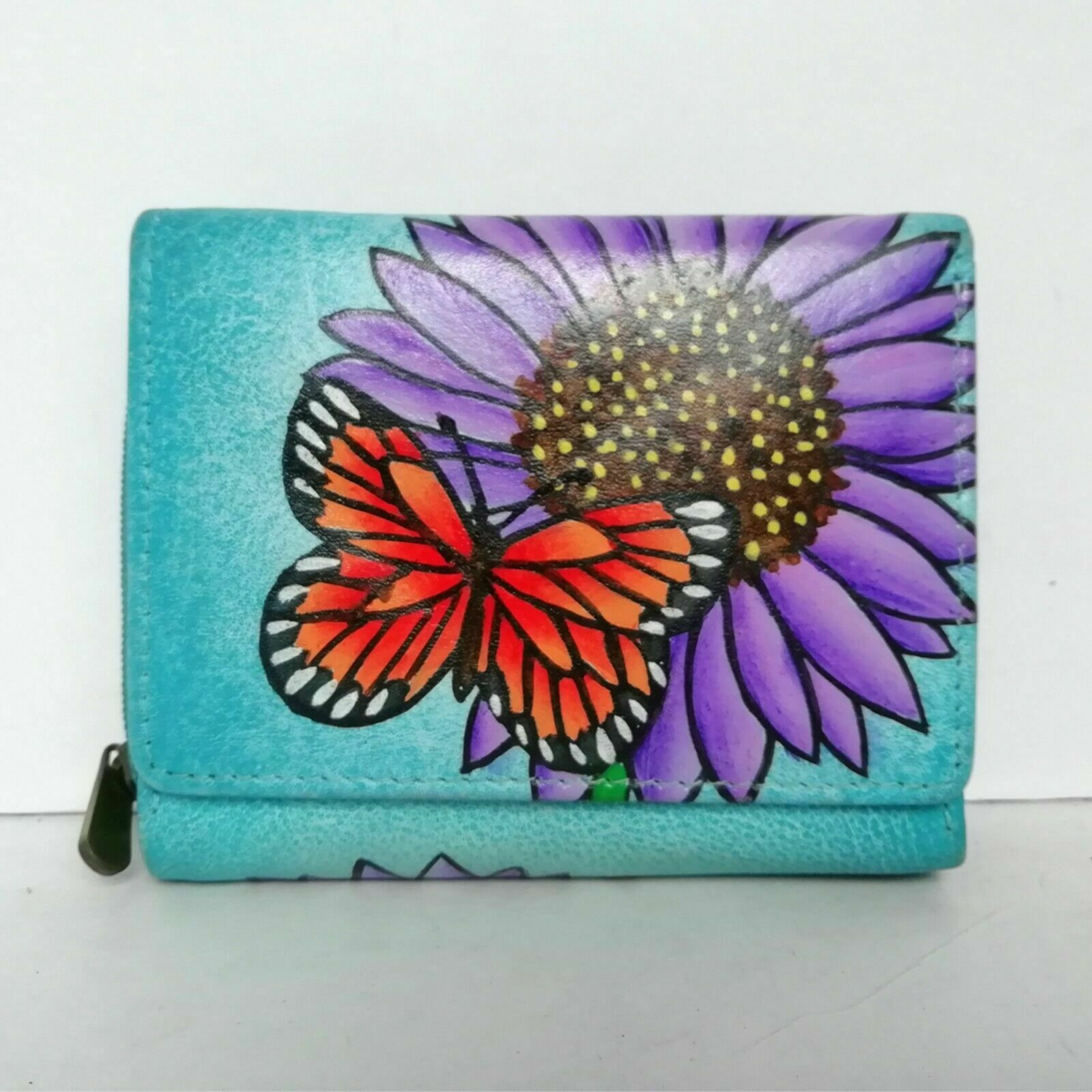 Balona Women Leather Floral Butterfly Handpainted Small Mini Wallet Money Purse