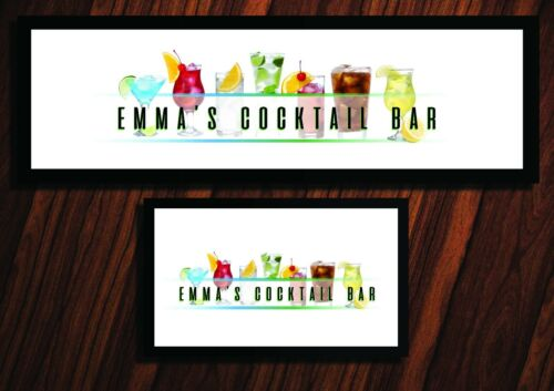 PERSONALISED COCKTAIL LABEL BAR RUNNER HOME PUB BEER MAT OCCASION