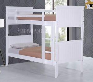 Dallas White Wooden Shaker Style Bunk Bed Frame 3ft Single Children