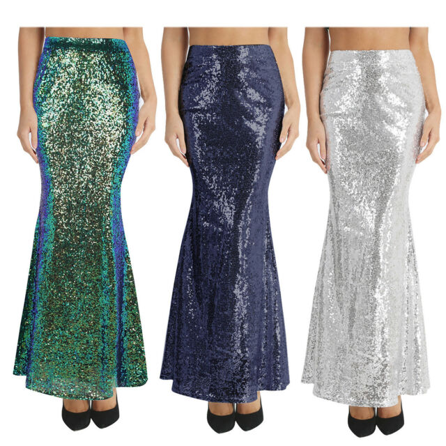 Shiny Sequin Long Maxi Mermaid Skirt Costume Women's Prom Party Wedding Skirts