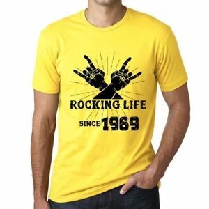 Rocking-Life-Since-1969-Hombre-Camiseta-Amarillo-Regalo-De-Cumpleanos-00422