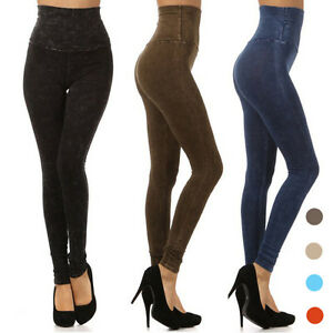 New! HIGH WAISTED Acid MINERAL Washed Elastic PULL ON LEGGINGS