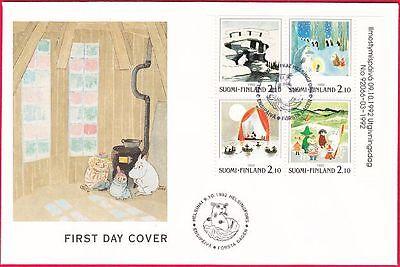 Moomin Troll Cartoon Sheet Finland FDC 1992